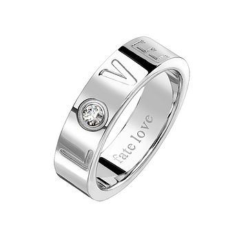 Fate Love - Unisex Stainless Steel Love Engraved Ring With Clear CZ Stone