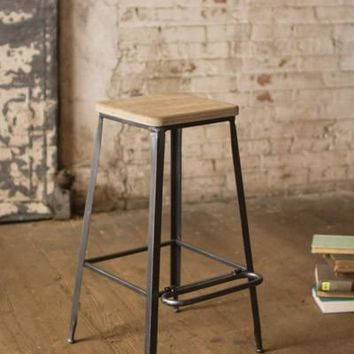 Metal Bar Stool With Square Wooden Seat