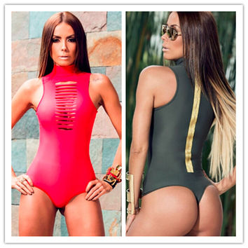 Grey Pink High Neck Sexy One Piece Thong Swimsuit Wet One Pieces Swim Suits For Women Cut Out Bodysuit Biquini 1pc Monokini