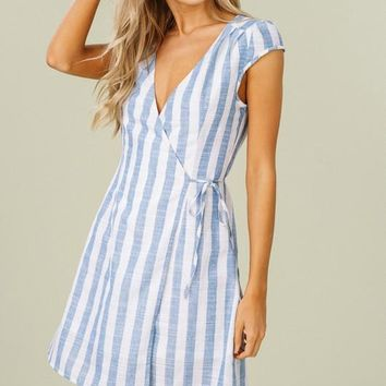Cap Sleeve Striped Wrap Dress - Blue