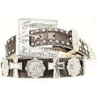 Nocona Rhinestone Cross & Concho Leather Belt - Sheplers