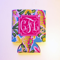 Seahorse Coozie, Personalized Coozie, Monogram Can Coolie, Can Coolers, Can Huggie, Personalized Coolies, Wedding Favor, Bachelorette Favors