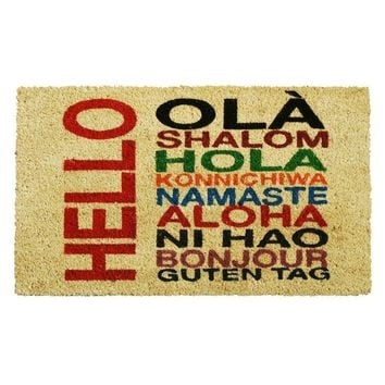 International HELLO Non-slip Coir Doormat