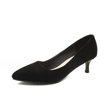 Pointed Toe Mid Heel Stiletto Pumps Shoes 4701