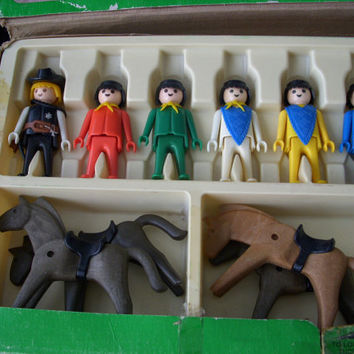 Vintage Schaper Playmobil, Cowboy Deluxe Set with Box 040, Geobra 1974