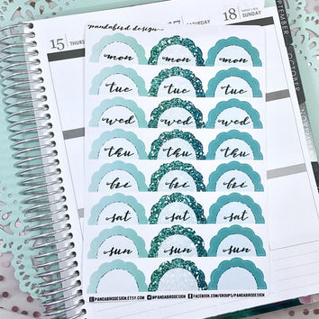 Scalloped Date Cover Planner Stickers | Date Cover Scallops Green
