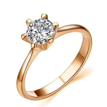 Sparkling Solitaire 1ct CZ Wedding Ring Rose Gold