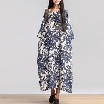 5XL ZANZEA Women Vintage Floral Print O Neck 3/4 Sleeve Cotton Linen Long Dress Loose Casual Party Baggy Boho Vestido Oversized