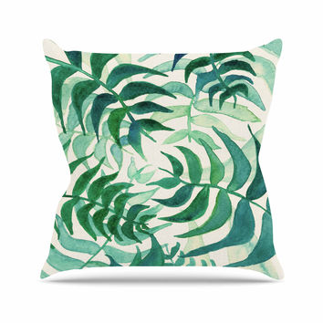 "Viviana Gonzalez ""Botanical Vibes"" Green Beige Watercolor Outdoor Throw Pillow"