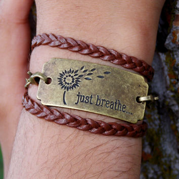 Just Breathe Wrap Bracelet. Inspirational Bracelet. Boho Chic Jewelry.