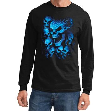 Yoga Clothing for You Mens Flaming Blue Skulls Biker Long Sleeve Tee Shirt - Black