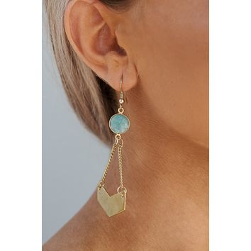 Zelda Drop Earrings (Gold/Mint)