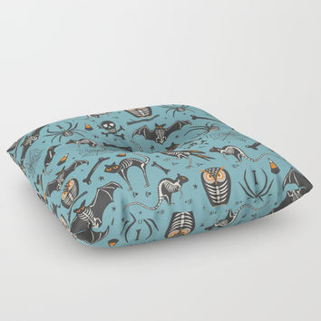 Halloween X-Ray Blue Floor Pillow by Heather Dutton