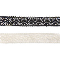 Short-Strand Lace Choker Necklace 2-Pack - Aeropostale
