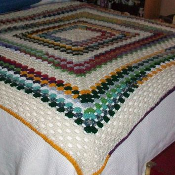 Throw Blanket, Handmade Crochet in a Variety of Colors, Granny Square Stitch