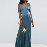 ASOS WEDDING Premium Drape Cowl Back Cami Maxi Dress at asos.com