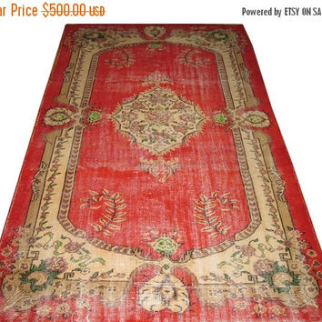 ON SALE Red Field With Medallion Turkish Vintage Rug  8'6'' x 5'4''  Free Shipping