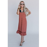 Don't Hesitate Button Down Dress - Rust