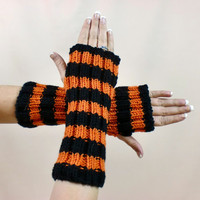 Halloween Fingerless Gloves Orange Black Knit Wrist Warmers