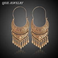 QIHE JEWELRY Ancient Silver Gold Color Tibetan Earring Boho Dangle Charm Statement Silver Color Gypsy Jewelry brincos