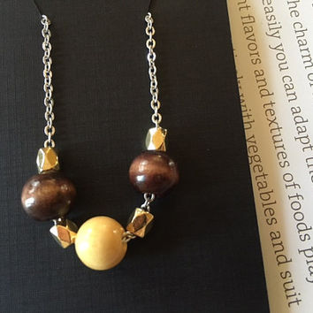 Minimalist/Naturalist Necklace, Light and Dark Round Wood Beads on Sterling-silver Plated  Chain