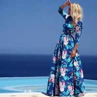 New Women Lady Vintage Floral Chiffon Long Sleeve Maxi Party Cocktail Prom Dress