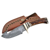 Damascus Guthook Skinner Knife - ZS-DM-1008 by Dark Knight Armoury