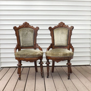 1 Eastlake Victorian Carved Walnut Parlor or Side Chair, Green Velvet Upholstery, Antique Parlor Furniture, Choice of 2