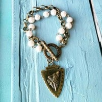 Arrow Head On Pearl And Antique Bronze Bracelet