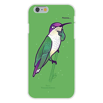 Apple iPhone 6 Custom Case White Plastic Snap On - 'Hmmm Bird' Hummingbird Humor