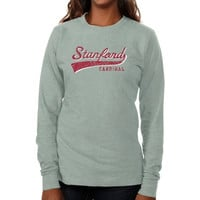 Stanford Cardinal Ladies All-American Primary Long Sleeve Slim Fit T-Shirt - Ash