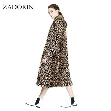 Europe Fashion Women X-Long Faux Fur Leopard Coat Women Faux Fur Jacket Gilet Pelliccia Women Fur Coats veste fourrure S-3XL