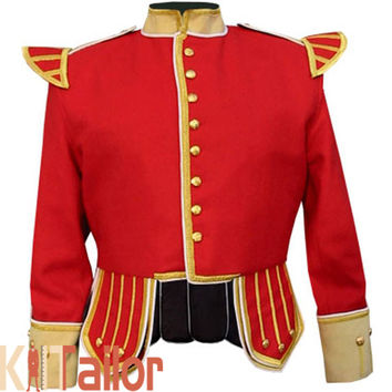 STYLISH BUFF DOUBLET RED JACKET CUSTOM MADE