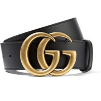 GUCCI New Fashion Classic Couple Double Smooth Metal Buckle Belt Black Leather Belt