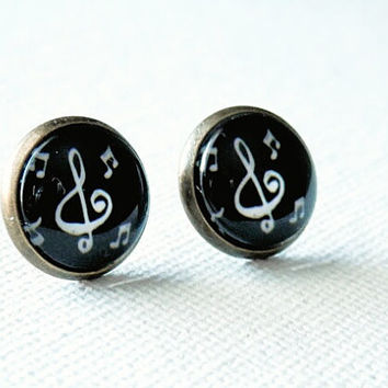 Music Note Earrings - Black and White Earrings - Music Note Studs