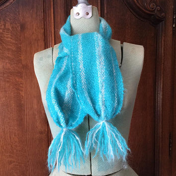 Turquoise Blue Mohair Scarf, White, Striped, Cozy, Tassels, Winter, Vintage Fashion