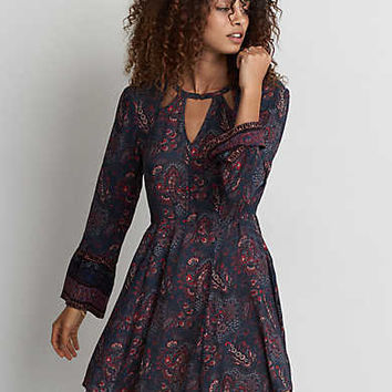 AEO Button Neck Fit & Flare Dress, Navy