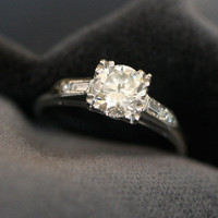 Diamond Solitaire Engagement Ring w/ Baguette Cut Shoulders by Ruby Gray's | Ruby Gray's Antique & Vintage Rings