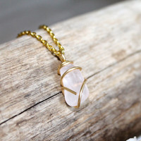 Rose Quartz Jewelry made in Hawaii, Wire Wrapped Gemstone Necklace by Mermaid Tears, wire wrapped stone