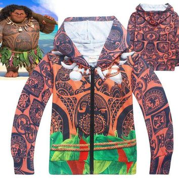 DCCKH6B Child Boys Summer Hoodie Halloween Funny Costume Jacket Moana Maui Cosplay Fancy Zip Sweatshirt Cool Clothes Gift For Kids 4-10T
