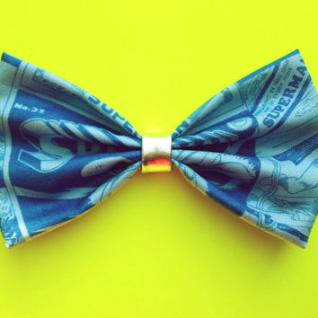 Blue Tint Superman Hair Bow/Bow Tie