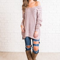 Faye Cross Back Sweater (Mauve)