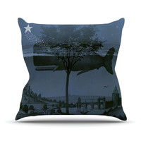 """Suzanne Carter """"Whale Watch"""" Blue Illustration Throw Pillow"""