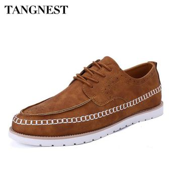 Tangenst Spring Man Brogue Shoes British Style High Quality Lace-Up Vintage Thick Heel Man Flats 2017 Fashion Male Shoes XMR2554