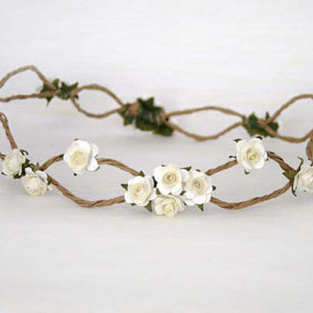 White Rose Woodland Vine Crown, Bridal Circlet, Floral Hair Wreath