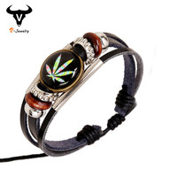 Newest Harajuku Marijuana Style Female Leather Bracelet Wristband Punk Rock Vintage Jewelry Color Weed Round Resin Bead Bracelet