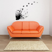 Paw Print Paint Splatter Vinyl Wall Decal Sticker