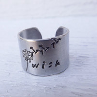 Wish hand stamped silver aluminum cuff ring free shipping