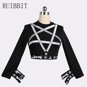 2018 New Arrival Punk Pentagram Straps Women T-shirt Female Sexy Gothic for Girls Long Sleeve T Shirts Bandage Slim Tee Top