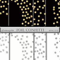 Gold Foil Dot Confetti Overlay - Gold and Silver Confetti Clipart - Digital Confetti Glitter - Instant Download